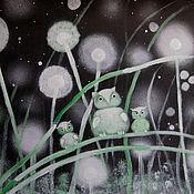 Картины и панно ручной работы. Ярмарка Мастеров - ручная работа Картина   Совы  в  траве  ночь  черный  заросли. Handmade.