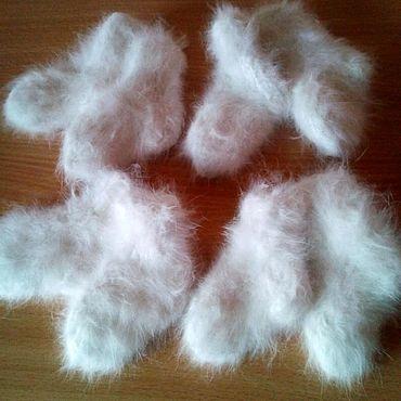 Аксессуары ручной работы. Ярмарка Мастеров - ручная работа Носочки из пуха кролика белые. Handmade.