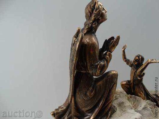 Статуэтки ручной работы. Ярмарка Мастеров - ручная работа. Купить скульптура Благовещение бронза и окаменелое дерево. Handmade. Ангел
