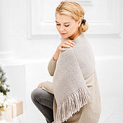 Аксессуары handmade. Livemaster - original item Cashmere knitted scarf with fringe