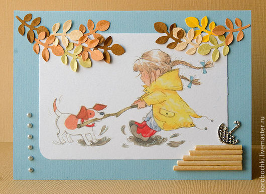 """Открытки на все случаи жизни ручной работы. Ярмарка Мастеров - ручная работа. Купить Открытка """"Осенние забавы"""". Handmade. Голубой, лужи"""