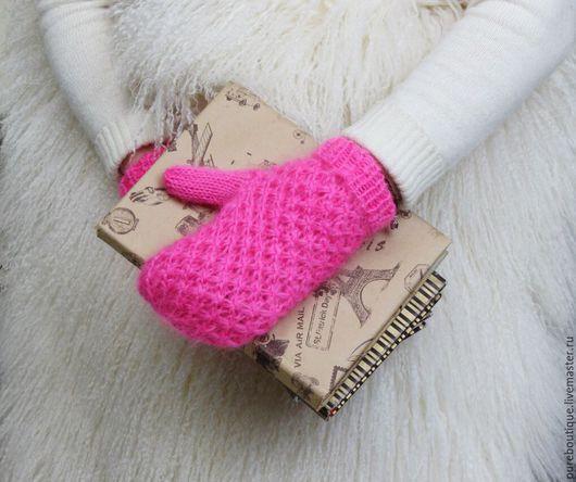 """Варежки, митенки, перчатки ручной работы. Ярмарка Мастеров - ручная работа. Купить Варежки """"Вафелька"""", цвет розовый. Handmade. Варежки"""