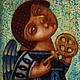 """Персональные подарки ручной работы. Ярмарка Мастеров - ручная работа. Купить """"Ангел с ключом"""", авторская печать. Handmade. Тёмно-бирюзовый"""