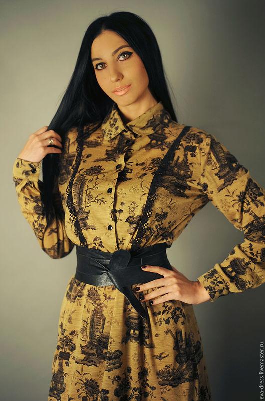 """Платья ручной работы. Ярмарка Мастеров - ручная работа. Купить Платье из итальянского трикотажа, платье длинное под пояс """"Горчичное"""". Handmade."""