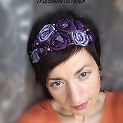 Украшения ручной работы. Ярмарка Мастеров - ручная работа Ободок для волос с розами  на резинке Сиреневый. Handmade.