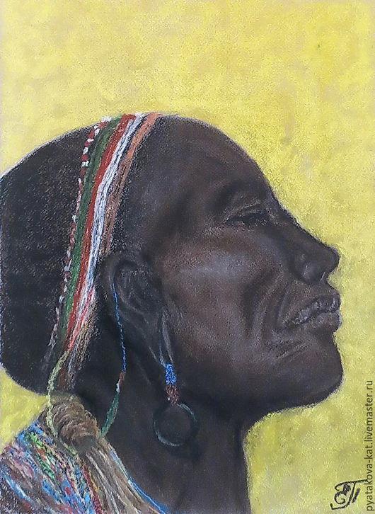 Люди, ручной работы. Ярмарка Мастеров - ручная работа. Купить В мыслях о традициях. Кения. Handmade. Пастель, люди, традиция