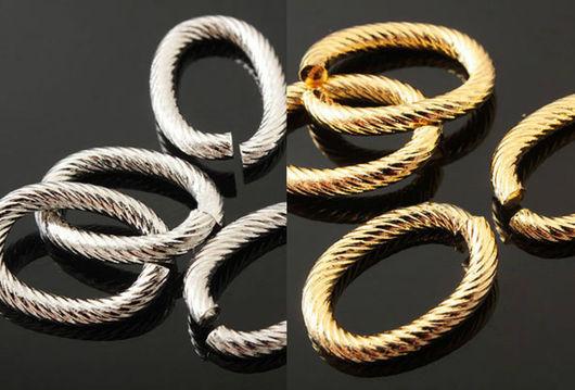 Декоративные витые разъемные кольца из латуни с глянцевой позолотой или родиевым покрытием, 10*14 мм. Фурнитура для серег и украшений из Южной Кореи.