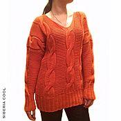 Одежда handmade. Livemaster - original item Sweater female orange, knitted, large braids, Merino wool. Handmade.