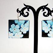 Украшения handmade. Livemaster - original item Transparent Earrings Blue Earrings Flowers Earrings Square View Window. Handmade.