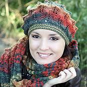 Аксессуары ручной работы. Ярмарка Мастеров - ручная работа Шапка шарф вязаная женская зеленый оранжевый желтый бордовый изумрудны. Handmade.
