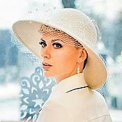 Шляпы ручной работы. Ярмарка Мастеров - ручная работа Свадебная шляпа с плотными полями. С вуалью. Handmade.