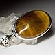 Серебряный кулон с натуральным природным тигровым глазом в оправе из серебра 925 пробы, размер вставки 6 х 21 х 32 мм, высота кулона 46 мм, вес изделия 9.56 грамма, код 6482