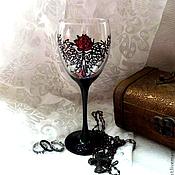 """Посуда ручной работы. Ярмарка Мастеров - ручная работа бокал для вина  """"Красная роза"""". Handmade."""