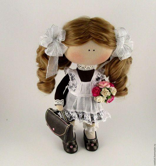 Куклы тыквоголовки ручной работы. Ярмарка Мастеров - ручная работа. Купить Кукла школьница. Handmade. Чёрно-белый, ученица, холлофайбер