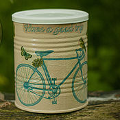 Для дома и интерьера handmade. Livemaster - original item Jar decoupage Cycling. Handmade.