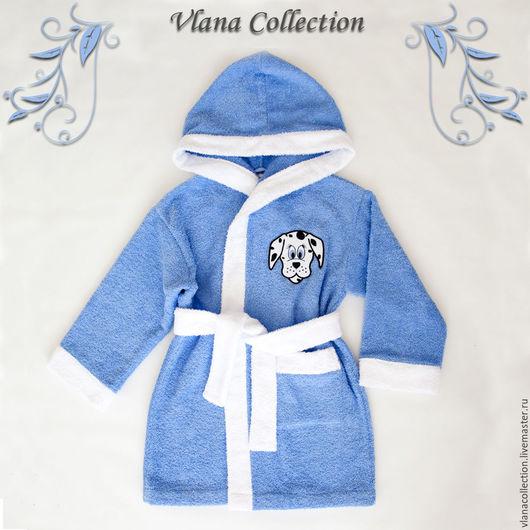 Халаты ручной работы. Ярмарка Мастеров - ручная работа. Купить Детский халат. Handmade. Голубой, однотонный, 100% хлопок