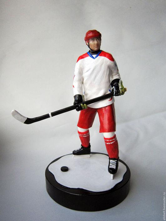Портретные куклы ручной работы. Ярмарка Мастеров - ручная работа. Купить Портретная фигурка хоккеист. Handmade. Ярко-красный, Аппликация