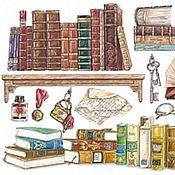 Книжный шкаф (DFS183) - 48х33 рисовая бумага