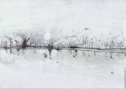Пейзаж ручной работы. Ярмарка Мастеров - ручная работа. Купить Rain. Handmade. Комбинированный, дождь, природа, дерево, деревья, туман