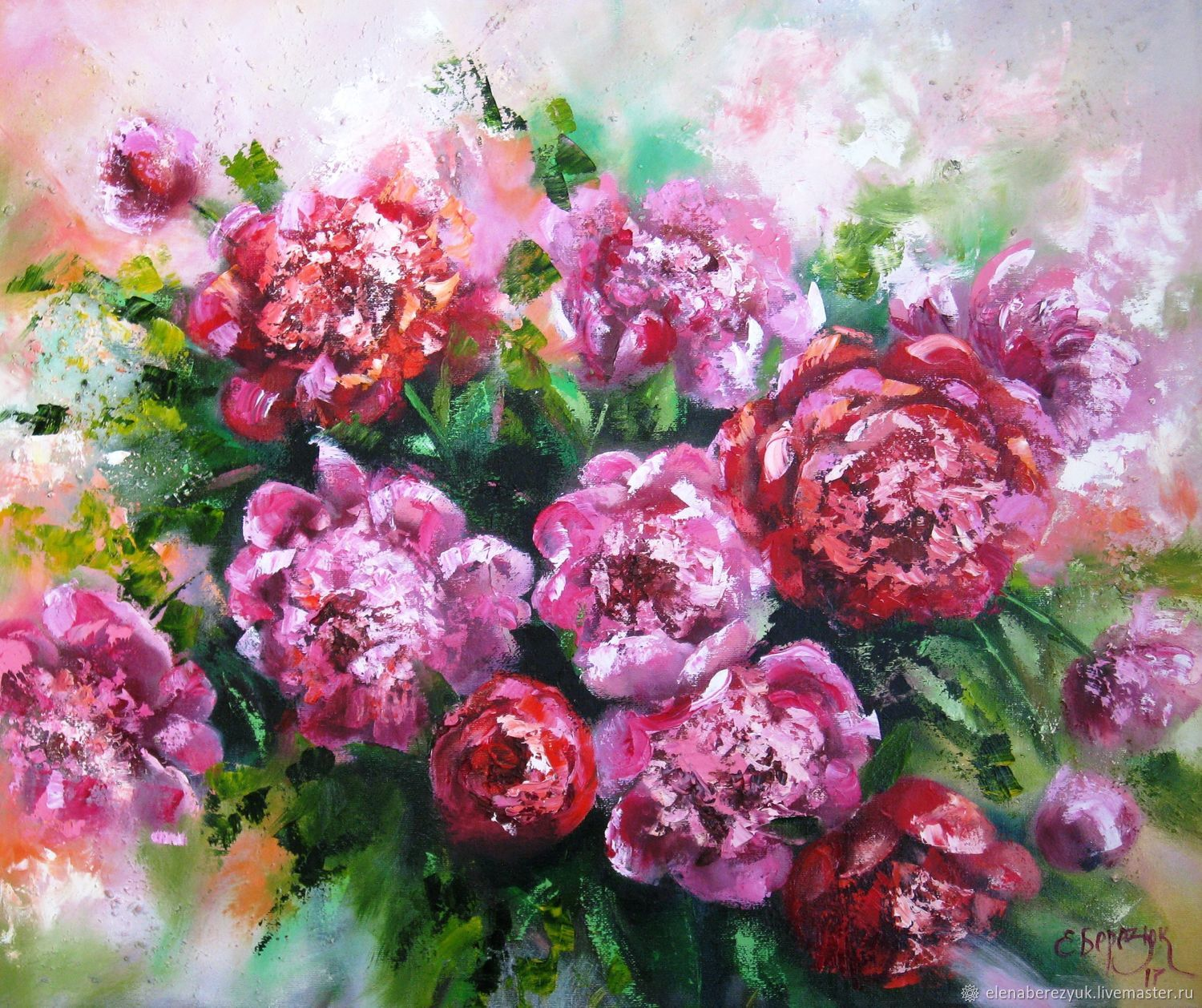 Peonies painting with oil on canvas, paintings of flowers,flowers, Pictures, Petrozavodsk,  Фото №1