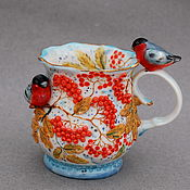 Посуда handmade. Livemaster - original item Bullfinches on mountain ash. Porcelain mug.. Handmade.