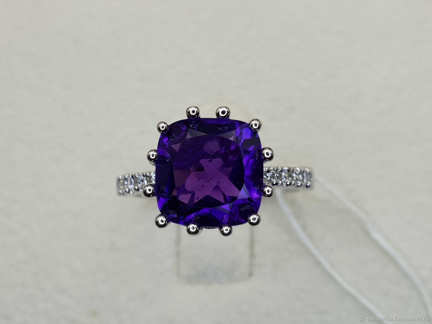 Silver ring with amethyst and cubic zirconia, Rings, Moscow,  Фото №1