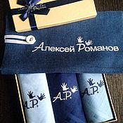 Аксессуары handmade. Livemaster - original item Handkerchiefs men`s Luxury embroidery and a bag of flax. Handmade.