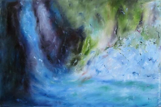 Пейзаж ручной работы. Ярмарка Мастеров - ручная работа. Купить Водопад. Handmade. Водопад, загадочность, радуга, вода, природа, холст