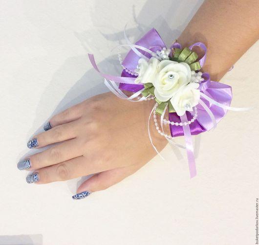 Одежда и аксессуары ручной работы. Ярмарка Мастеров - ручная работа. Купить Браслет для подружки невесты ( сиреневая свадьба ). Handmade.