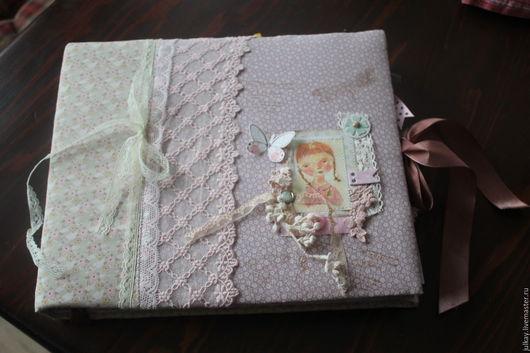 Подарки для новорожденных, ручной работы. Ярмарка Мастеров - ручная работа. Купить Скрапальбом для фото новорожденной девочке. Handmade. Бледно-розовый