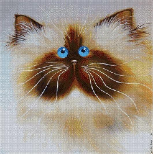 """Вышивка ручной работы. Ярмарка Мастеров - ручная работа. Купить Схема для вышивания крестиком """"Пирожок"""". Handmade. Комбинированный, кошка, кот"""