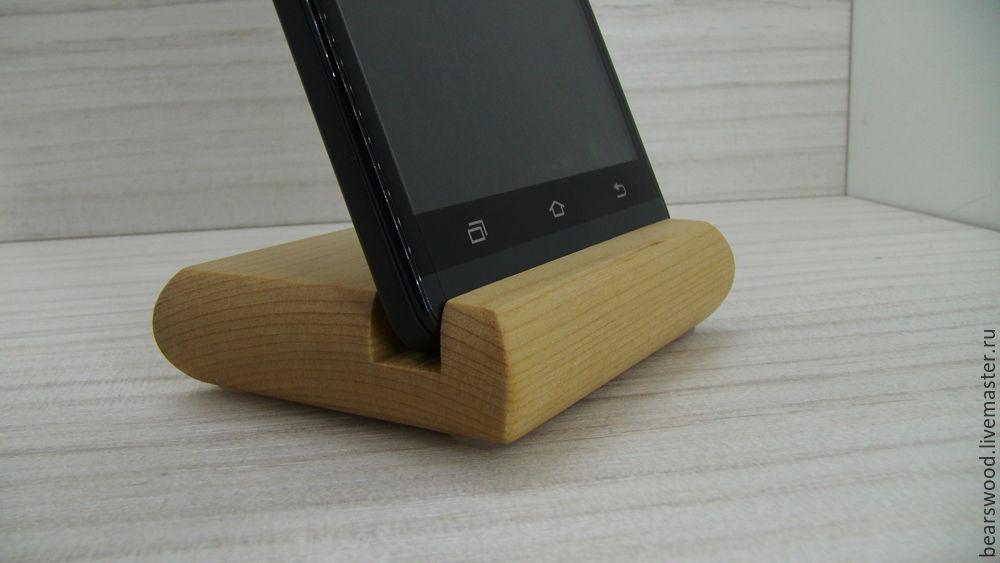 Business card holder desktop. A stand for your smartphone. Beech ...