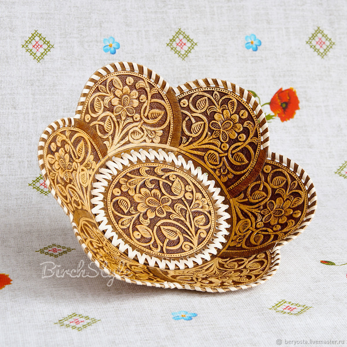 Your bread plate is made of birch bark 'Pattern'. The candy bowl plate, Ware in the Russian style, Novosibirsk,  Фото №1