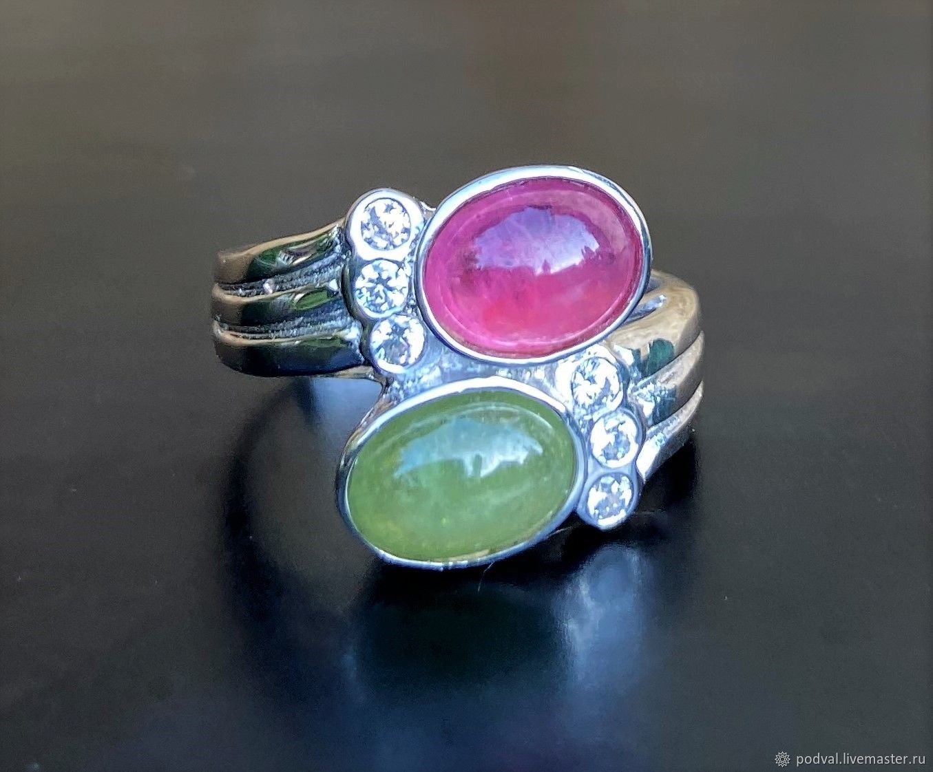 Ring with natural sapphire and ruby 'Miranda' (17,5), Rings, Korolev,  Фото №1
