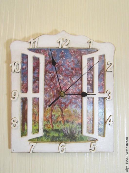 """Часы для дома ручной работы. Ярмарка Мастеров - ручная работа. Купить Часы """"Окно. Весна"""". Handmade. Голубой, счастье"""