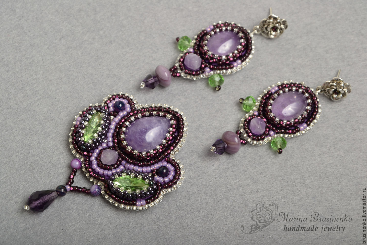 Brooch and bead earrings Violet amethyst embroidery purple green, Jewelry Sets, Novosibirsk,  Фото №1