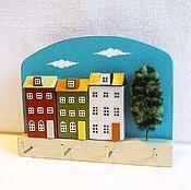 Для дома и интерьера ручной работы. Ярмарка Мастеров - ручная работа вешалка-ключница, домики. Handmade.