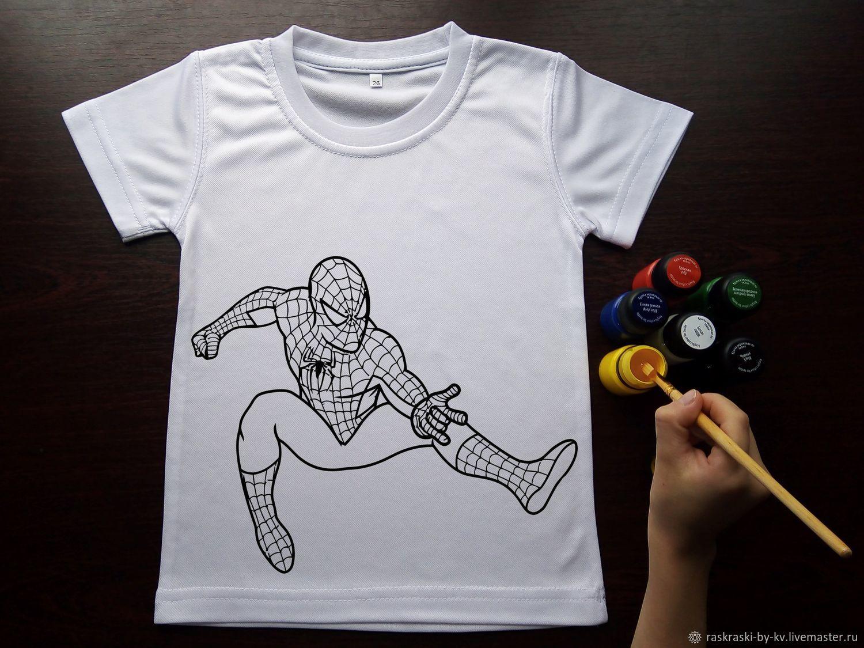Футболка-раскраска Человек-паук 1. Набор с красками 9 цв, Футболки, Кушва,  Фото №1