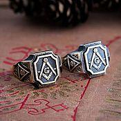 Украшения handmade. Livemaster - original item Ring Freemasons. Masonic ring. The Illuminati. bronze silver. Handmade.