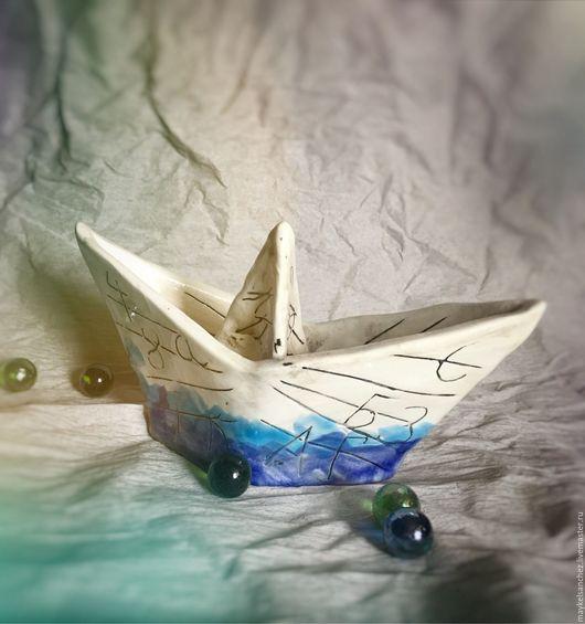 Вазы ручной работы. Ярмарка Мастеров - ручная работа. Купить Кораблик керамический. Handmade. Голубой, глина, глазурь