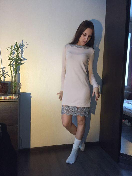 Платья ручной работы. Ярмарка Мастеров - ручная работа. Купить Платье-свитер из шерсти и ангорки с кружевом. Handmade. Бледно-розовый