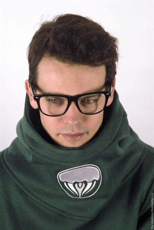 """Кофты и свитера ручной работы. Ярмарка Мастеров - ручная работа. Купить Темно-зеленая толстовка с высоким воротником """"Космонавт"""". Handmade."""