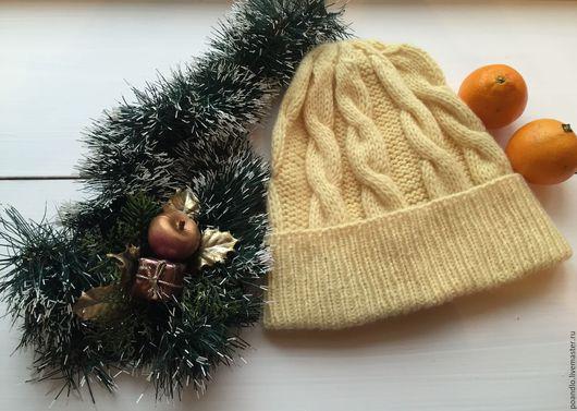 Шапки ручной работы. Ярмарка Мастеров - ручная работа. Купить Желтая шерстяная шапка. Handmade. Лимонный, шапка зимняя