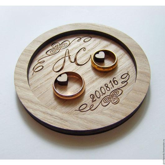 Свадебные аксессуары ручной работы. Ярмарка Мастеров - ручная работа. Купить Тарелочка для  колец из дерева. Handmade. Бежевый, для обручальных колец