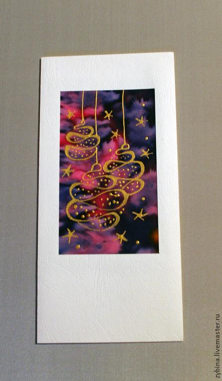 """Открытки к Новому году ручной работы. Ярмарка Мастеров - ручная работа. Купить Открытка """"Новогодние шары"""". Handmade. Тёмно-фиолетовый"""