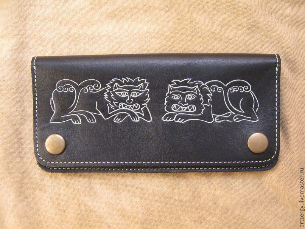 Wallets & Business Card Holders handmade. Livemaster - handmade. Buy purse leather 'Lions of the Dmitrovsky Cathedral'.