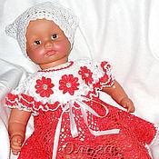 Работы для детей, ручной работы. Ярмарка Мастеров - ручная работа Платье ажурное вязаное крючком для девочки красное. Handmade.
