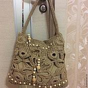 Классическая сумка ручной работы. Ярмарка Мастеров - ручная работа Сумка вязаная в эко стиле из джута Анастасия. Handmade.