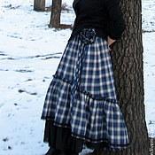 """Одежда ручной работы. Ярмарка Мастеров - ручная работа Юбка в стиле бохо """"Синяя клетка"""". Handmade."""