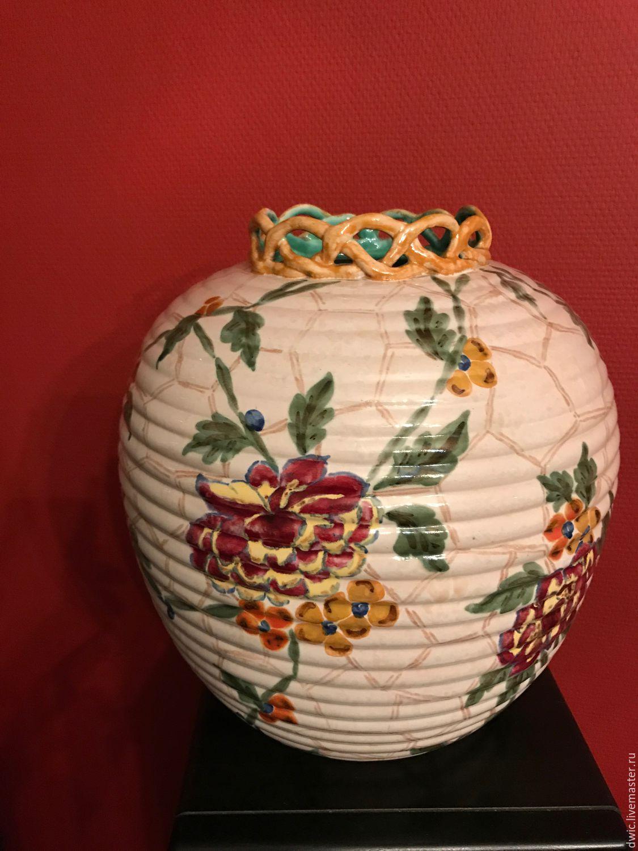 Porcelain vase 'Rose comb', handmade, Holland, Vintage interior, Arnhem,  Фото №1
